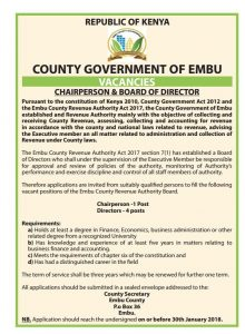 Vacancies – Embu County Government